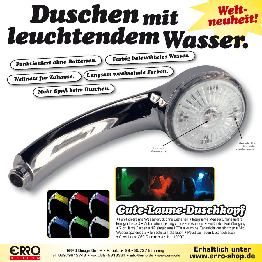 Dusche Led Licht : LED Dusche, Lichtduschkopf, Duschkopf Gschenkidee f?r Gute Laune