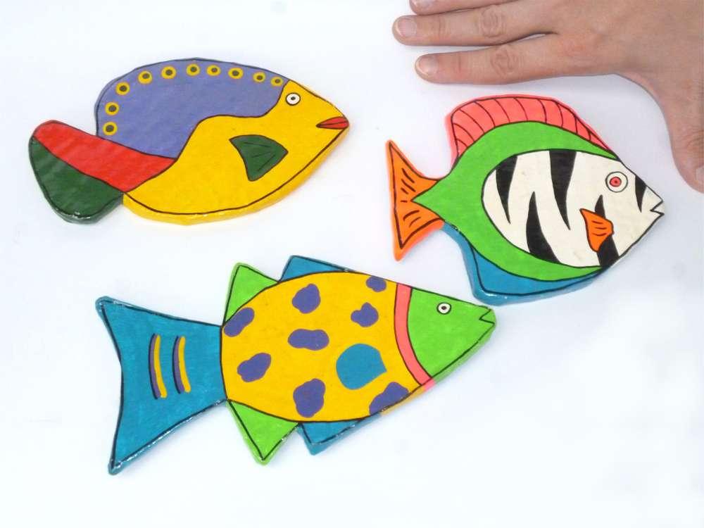 Pappmachee-Magnete Fische 3er Set - Tiermagnete zur Deko Geschenk