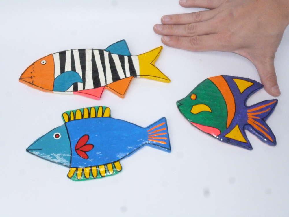 Pappmachee-Magnete Fische 3er Set - Tiermagnete, Kinderzimmerdeko